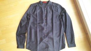 Dunkelblaue Bluse aus Seide von Hugo Boss, Größe 38, NEU