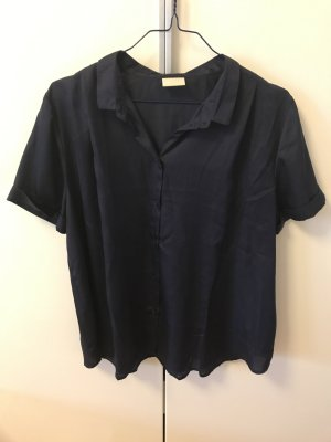 Dunkelblaue Bluse in Satin Optik