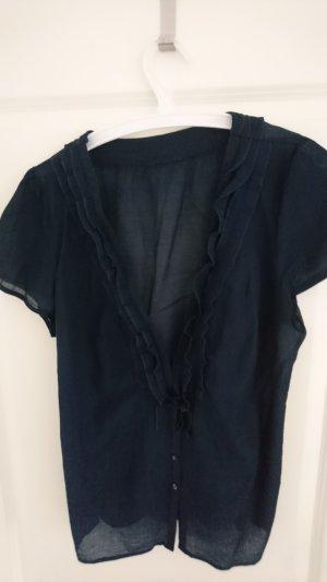 dunkelblaue Bluse - leichtes Material - Gr. L