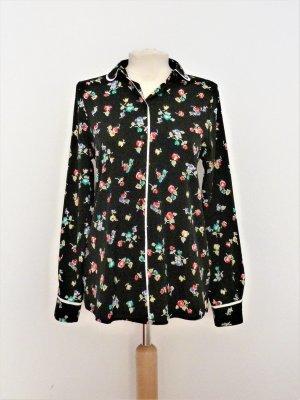 Dunkelblaue Bluse mit Blumenmuster
