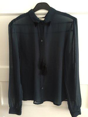 Dunkelblaue Bluse mit Samt-Kragendetails