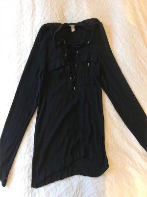 Dunkelblaue Bluse mit Schnürung