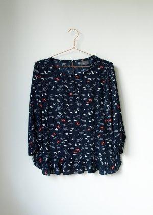 dunkelblaue Bluse mit Schwalben und leichtem Schößchen Neu Yessica 38