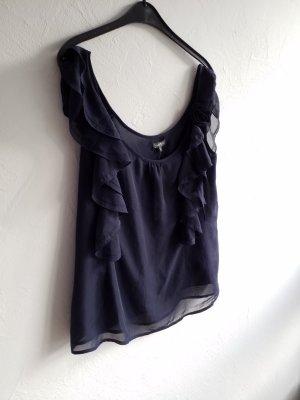 dunkelblaue Bluse / Top mit Rüschen von Grain de Malice