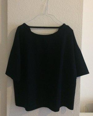 Dunkelblaue Bluse von Mango mit Rückenausschnitt