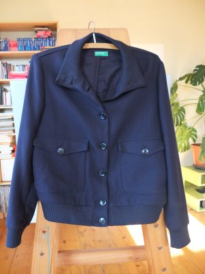 United Colors of Benetton Jersey Blazer dark blue cotton