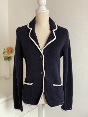 Dunkelblaue Business Strickjacke im Blazer Look