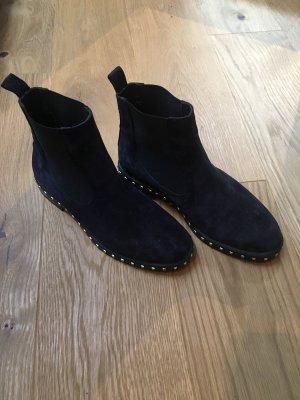 Chelsea laarzen goud-donkerblauw