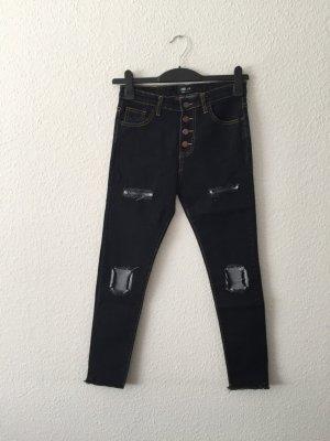 Dunkelblaue destroyed Jeans high-waist S