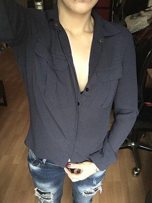 Dunkelblaue durchsichtige Bluse S/M