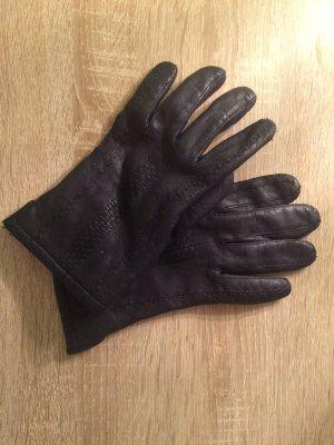 Dunkelblaue Echtlederhandschuhe