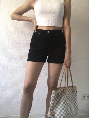 Dunkelblaue, edle, highwaste Shorts von Maison Scotch