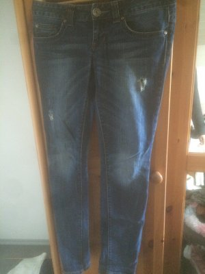 Dunkelblaue Fishbone Jeans