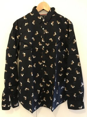 Dunkelblaue Hemdbluse von Tommy Hilfiger mit supersüssem Dog-Print