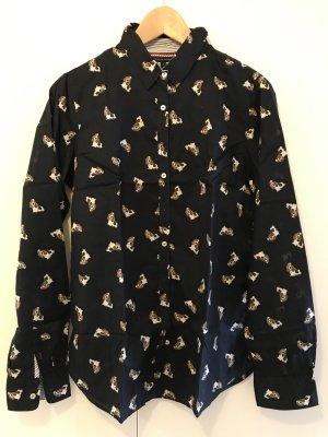 Dunkelblaue Hemdbluse von Tommy Hilfiger mit supersüssem Dog-Print / NEU