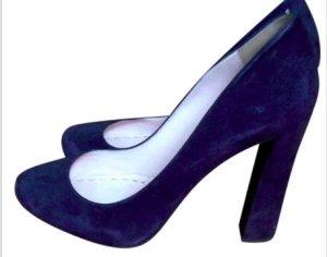Dunkelblaue High Heels aus Wildleder