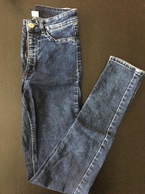 dunkelblaue high waist jeans von h&m