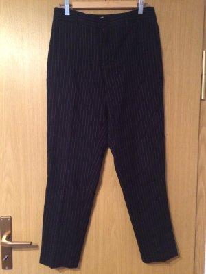 Mango casual Wollen broek donkerblauw-cognac