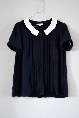 Dunkelblaue kurzärmlige Bluse von mint&berry mit Kragen