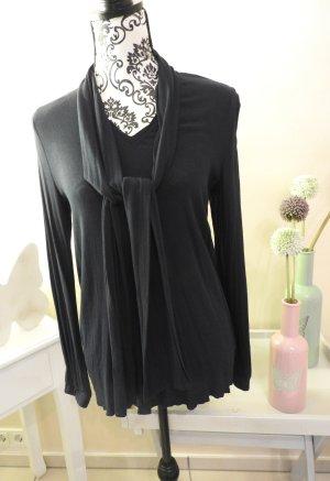 Dunkelblaue Langarm-Bluse mit schalähnlichem Kragen