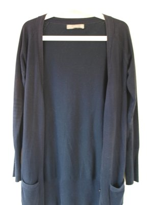 dunkelblaue lange Strickjacke in Größe S