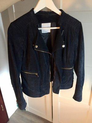 Dunkelblaue Lederjacke original Mango neu Fashion Style Blogger