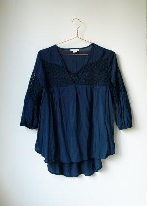 dunkelblaue leichte Boho Bluse mit transparenten Einsätzen und Stickereien S