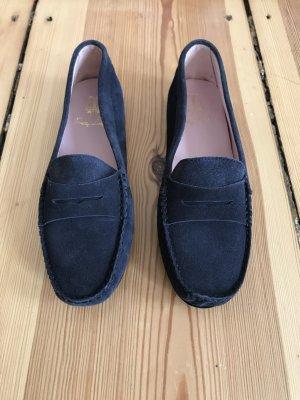 Dunkelblaue Loafer aus Wildleder von Pretty Loafers / Ballerinas in Größe 37,5