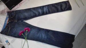 Dunkelblaue Low-rise , Straight-Leg Jeans
