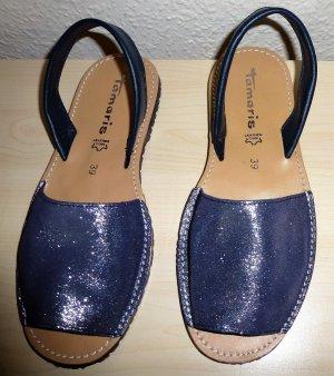 Dunkelblaue (Navy Glam) Tamaris Damen Slingback Sandalen mit Glitzereffekt