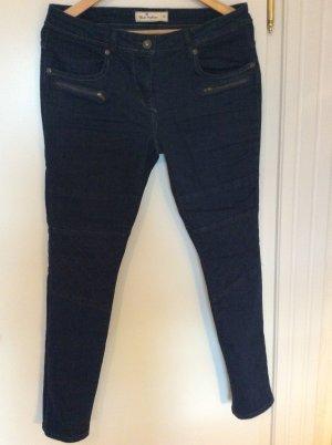Jeans de moto bleu foncé coton