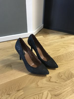 Zara Basic Peep Toe Pumps donkerblauw