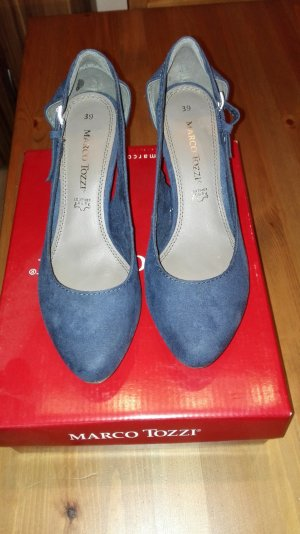 Marco Tozzi Backless Pumps dark blue imitation leather