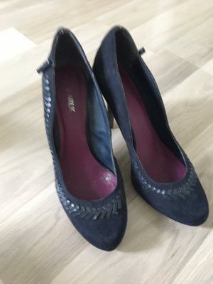 "Dunkelblaue Pumps wildleder Optik mit ""flechtmuster"" Navy Pumps Deichmann Gr39"