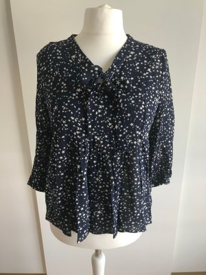 Boden Tie-neck Blouse dark blue-natural white