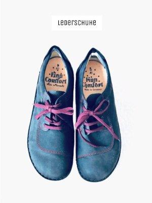 best sneakers c8e02 62931 Dunkelblaue Schnür Schuhe Echtleder NEU Leder Marken handgenäht | Finn  Comfort | 40