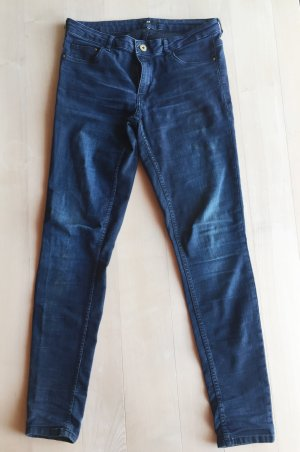 H&M Drainpipe Trousers dark blue