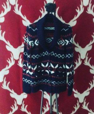 dunkelblaue strickjacke / cardigan / norwegermuster / winter / knits / vintage