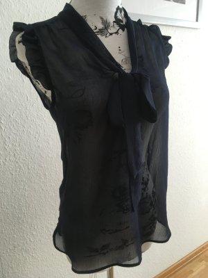 Dunkelblaue transparente Bluse