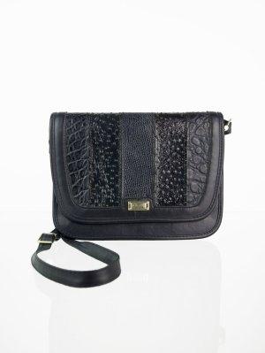 Dunkelblaue Vintage Handtasche im Patchwork-Look