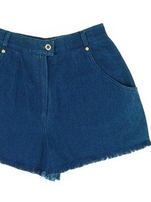 Dunkelblaue Vintage High-Waist Jeans Shorts 36