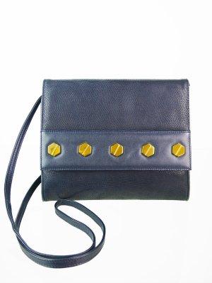 Dunkelblaue Vintage Leder Umhängetasche mit goldenen Nieten
