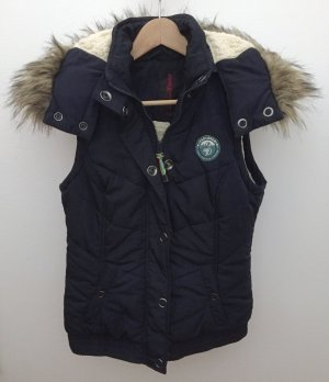 Tom Tailor Quilted Gilet dark blue polyester