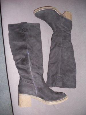 Dunkelblaue Wildlederimitat Stiefel mit hohem Schaft