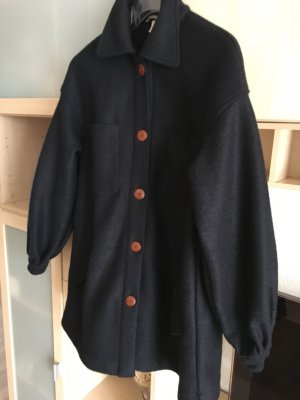 H&M Oversized Jacket dark blue wool