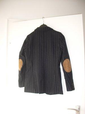 dunkelblauer Blazer Wollmischung mit Flicken am Ellbogen NEU Gr. 36