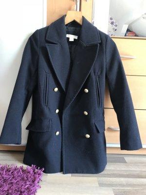 H&M Wool Coat dark blue-gold-colored