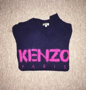 Dunkelblauer Kenzo Wollpulli Logo pink Gr. S