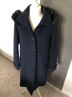 Abrigo con capucha negro-azul