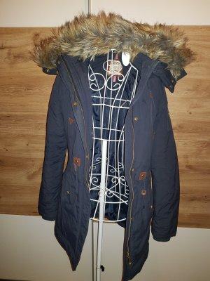 Dunkelblauer Parka Winterjacke Fake fur